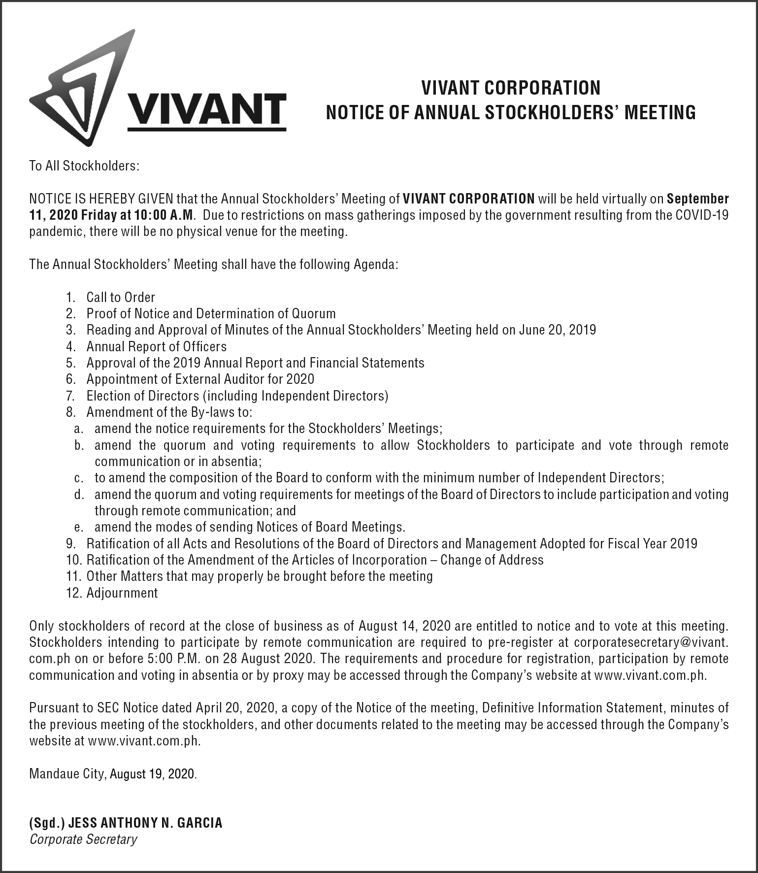 Vivant Notice AD 4x15 1 1 - Vivant Corporation sets virtual annual stockholders' meeting on September 11