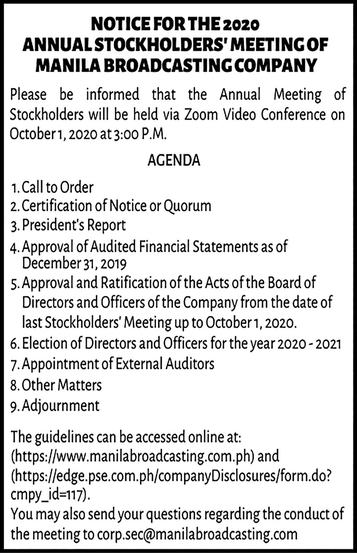 SEP 14 Notice of ASM 3x151 1 - Manila Broadcasting Company announces schedule of Annual Stockholders' Meeting