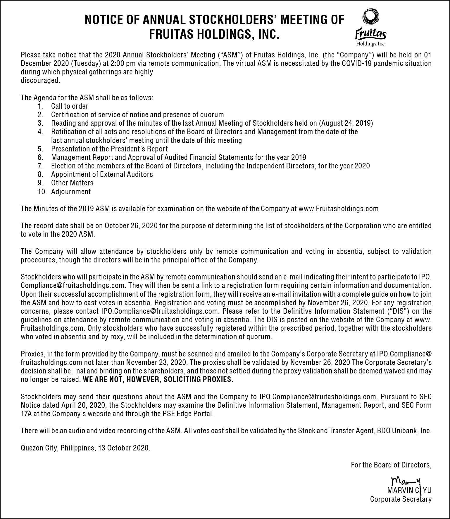 Fruitas Notice 4x15 1 - Fruitas Holdings, Inc. announces schedule of annual stockholders' meeting via remote communication